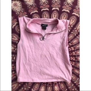 NWT Baby Pink Collared Crop Top • XS